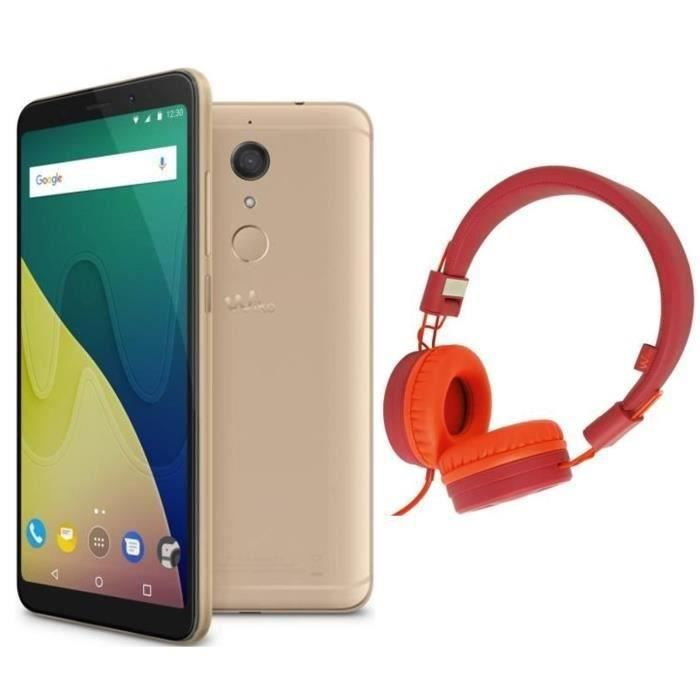 Wiko View XL Gold+ Casque filaire Wiko Wishake Rouge