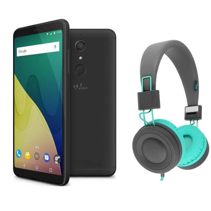 Wiko View XL Black + Casque filaire Wiko Wishake Rouge