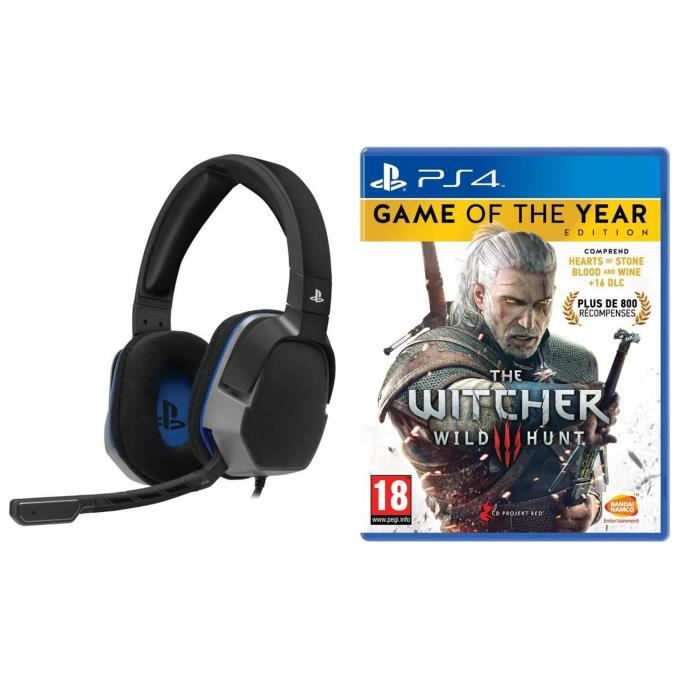 The Witcher 3 : Wild Hunt Goty Edition Jeu PS4 + Casque Afterglow Level 3