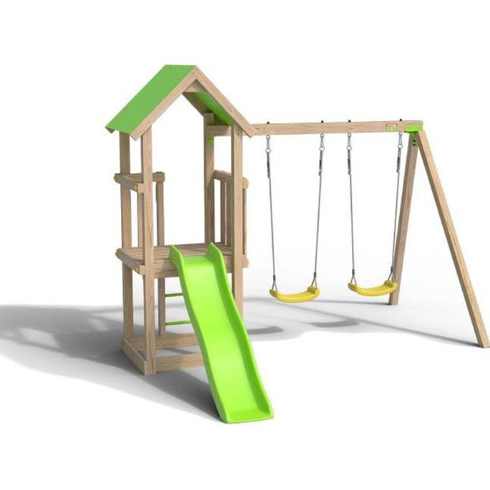 Aire de jeux EASY XPERIENCE, Plateforme 0,90m, bac à sable, toboggan 1,73m + extension portique 1,90m,2 balançoires