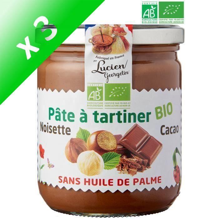 [LOT DE 3] LUCIEN GEORGELIN Pâte à Tartiner Noisettes et Cacao - Bio - 400 g