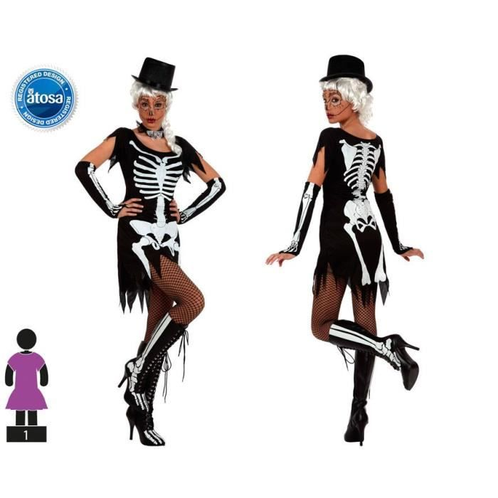 ATOSA Déguisement squelette - Femme - Noir