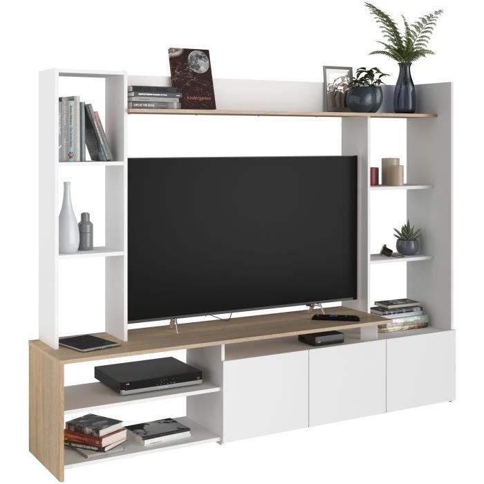 OREGON Meuble TV décor Chêne et blanc - Made in France - L 197cm