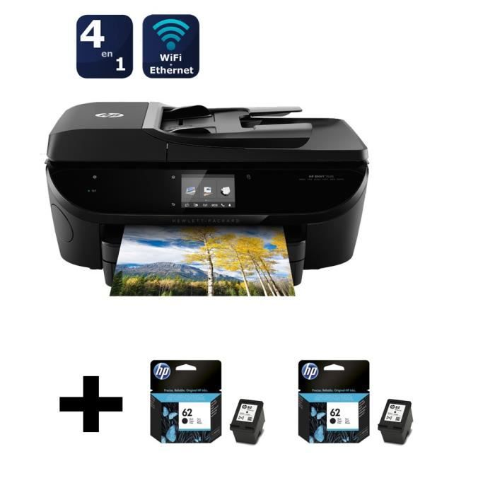 HP Envy 7640 + pack 2 cartouches HP n°62