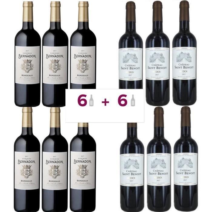 6 Château De Bernandon 2017 Bordeaux ACHETEES = 6 Château Saint Benoit 2017 Médoc OFFERTES - Vin rouge de Bordeaux