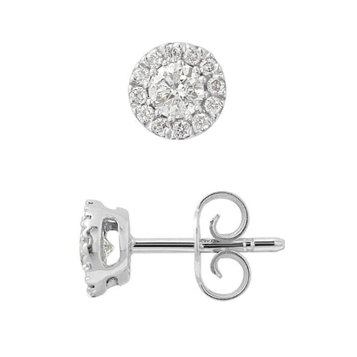 DIAMOND LANE Boucles d'Oreilles Solitaire Or Blanc 375° et Diamants 0,50 ct Femme