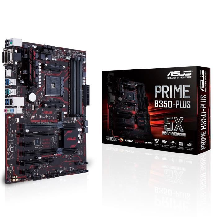 Asus Carte mère PRIME B350-PLUS - Socket AM4 - DDR4 - 2666 MHz - 64 Go - 90MB0TG0-M0EAY0