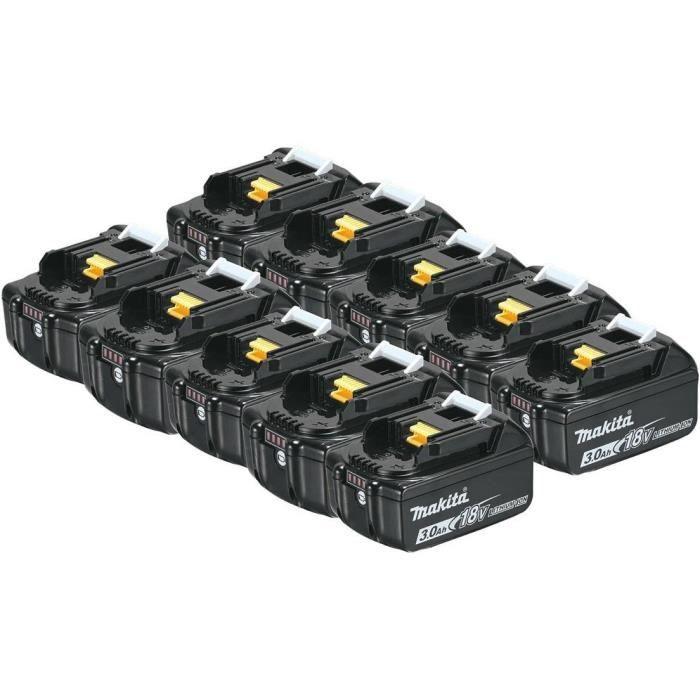 MAKITA Pack de 10 batteries BL1830B avec témoin de charge - 18 V 3Ah Li-ion