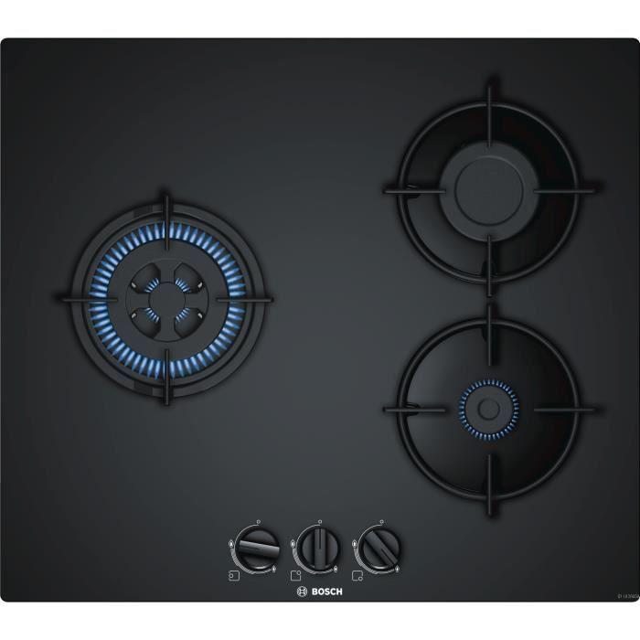 BOSCH PNC6B6B10 Plaque de cuisson gaz - 3 foyers - 7500 W - L 59 x P 52cm - Revêtement verre - Coloris noir