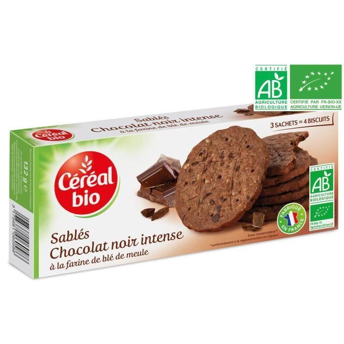 CEREAL BIO Biscuits sablés au chocolat noir intense Bio - 132 g
