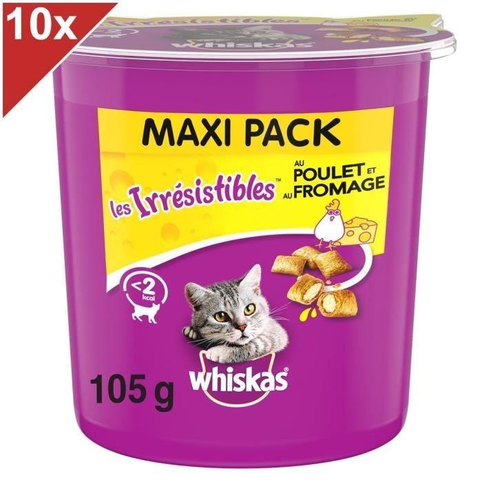 WHISKAS Les Irrésistibles Friandises - Aux poulet et fromage - Pour chat - 10 x 105 g