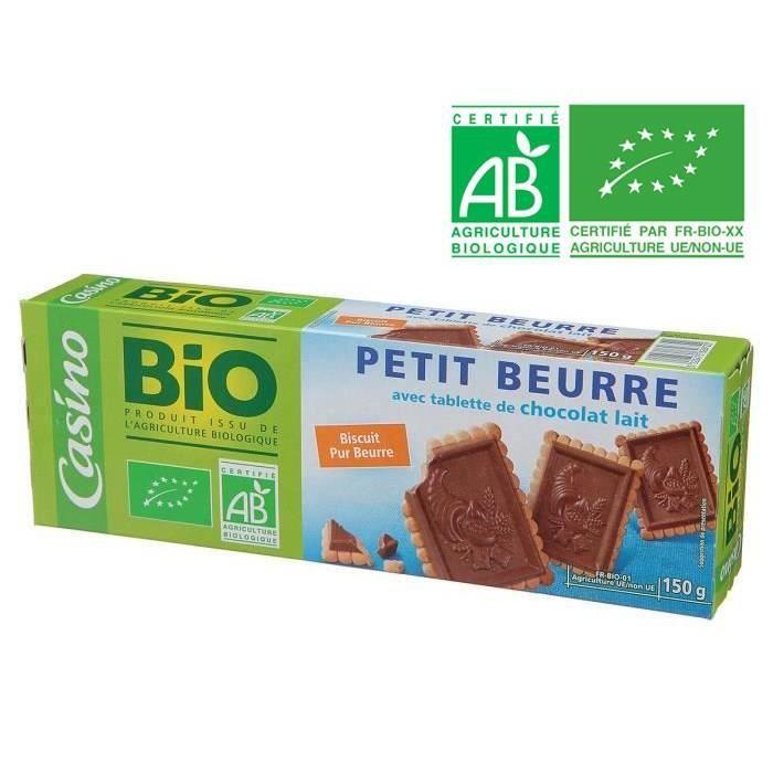 CASINO Petit Beurre Chocolat au lait BIO