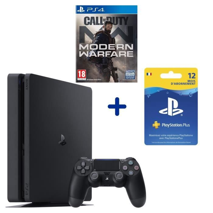 PS4 Slim 500 Go + Call Of Duty Modern Warfare + Abonnement 12 Mois PS Plus