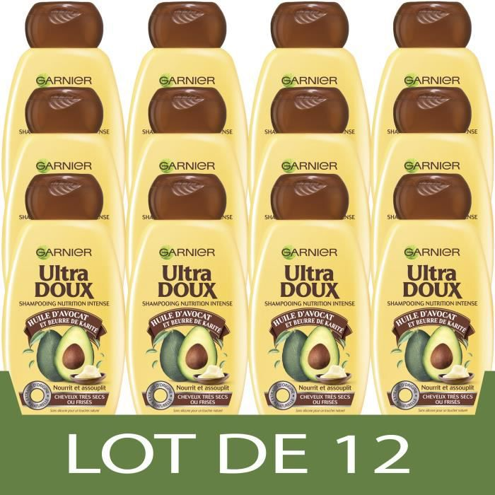 GARNIER Shampooing Ultra Doux Shampooing Avocat Karité 250ml - Lot de 12
