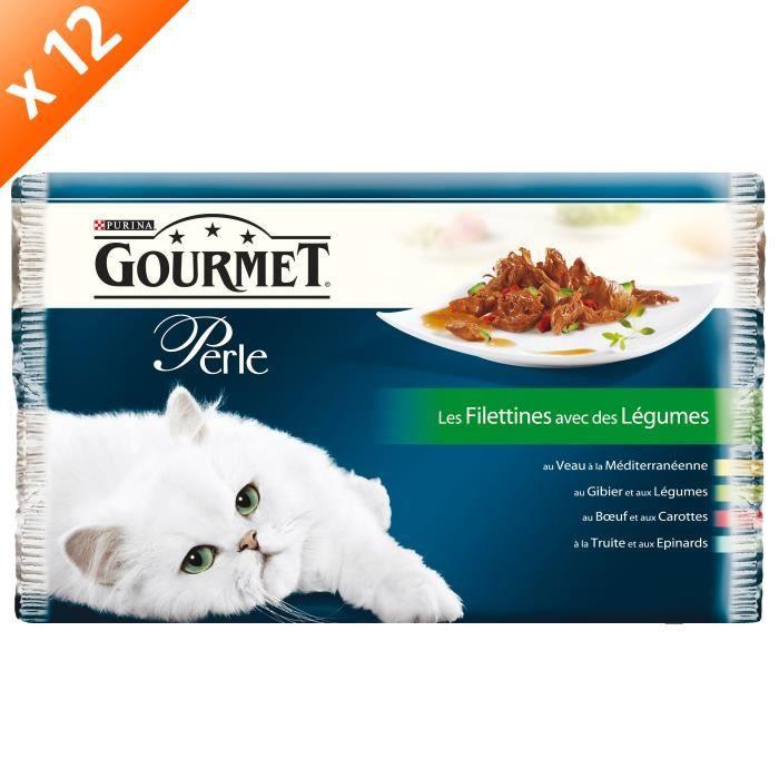 GOURMET PERLE Les Filletines avec des légumes Multivariétés - 4 x 85 g (x12) - Pour chat adulte