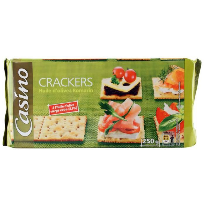 CASINO Crakers Huile d'Olives & Romarin 250g
