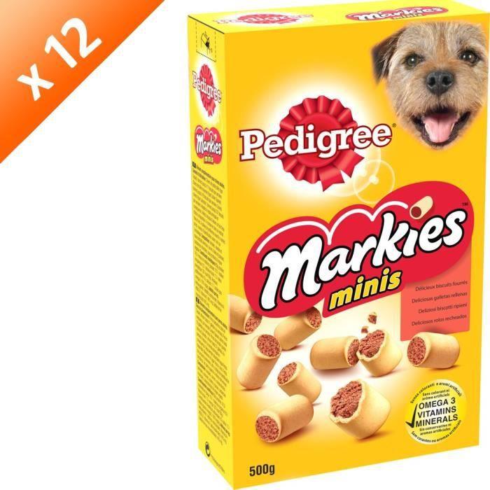 PEDIGREE Markies Minis Biscuits fourrés - Pour petit chien - 500 g (x12)