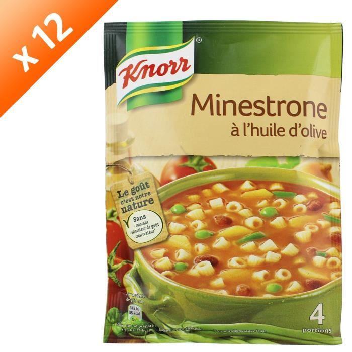 KNORR Soupe Minestrone à l'Huile d'Olive - Lot de 12x 104 g