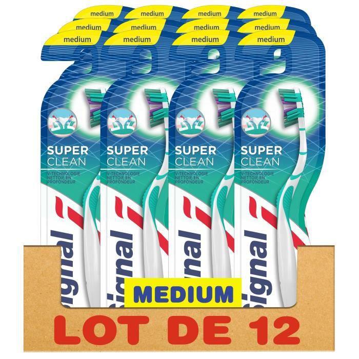 SIGNAL Lot de 12 Brosses à dents Manuelle Medium Super Clean