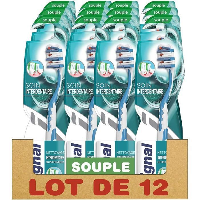 SIGNAL Lot de 12 Brosses à dents Manuelle Souple Soin Interdentaire