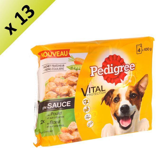 PEDIGREE Sachets fraîcheur en sauce 2 variétés - Pour chien - 13 x 100 g