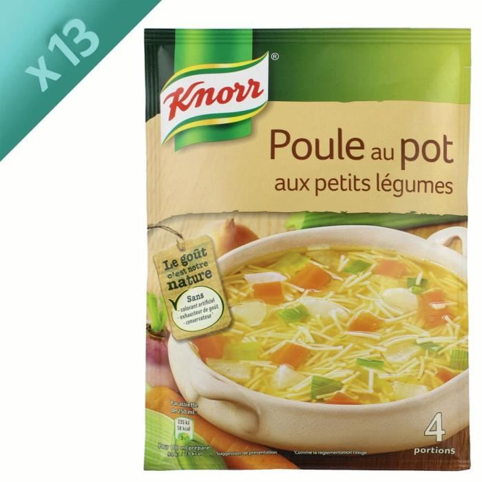 KNORR Soupe Poule au Pot aux Petits Légumes - Lot de 13x 72 g