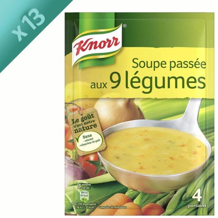 KNORR Soupe Déshydratée Passée aux 9 Légumes - Lot de 13x 105 g