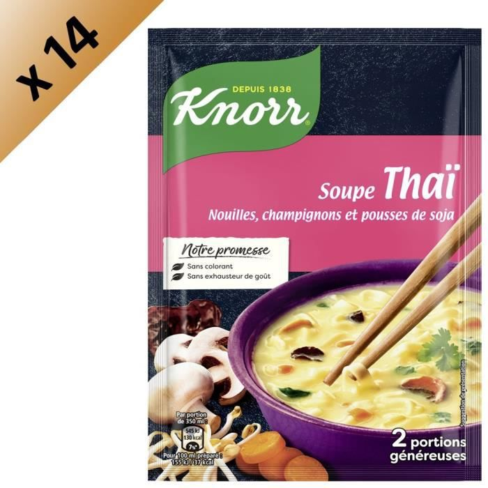KNORR Soupe Déshydratée Thaï Nouilles Champignons Pousses de Soja - Lot de 14x 69 g