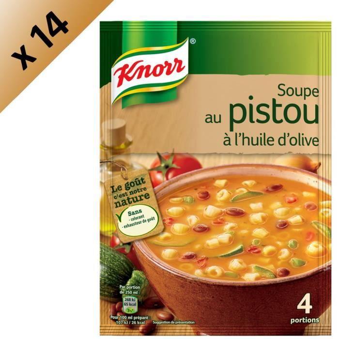 KNORR Soupe Pistou à l'Huile d'Olive - Lot de 14x 80 g