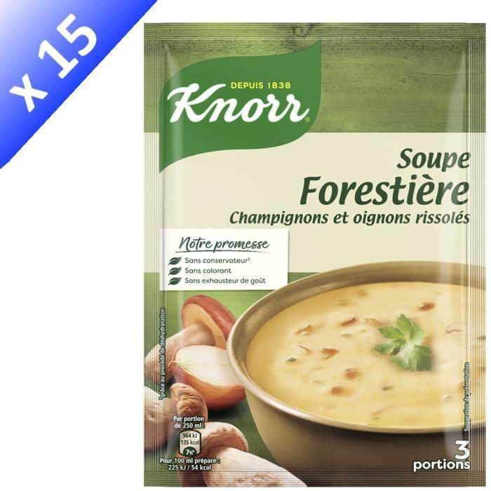KNORR Soupe Déshydratée Forestière Champignons et Oignons Rissolés - Lot de 15x 85 g
