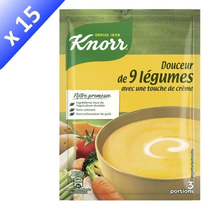 KNORR Soupe Douceur de 9 Légumes Touche de Crème - Lot de 15x 84 g