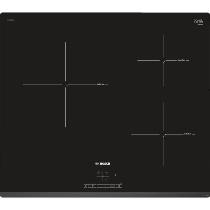 BOSCH PUC631BB1E Table de cuisson induction - 3 foyers - 4600 W - L 59,2 x P 52,2 cm - Revêtement verre - Coloris noir