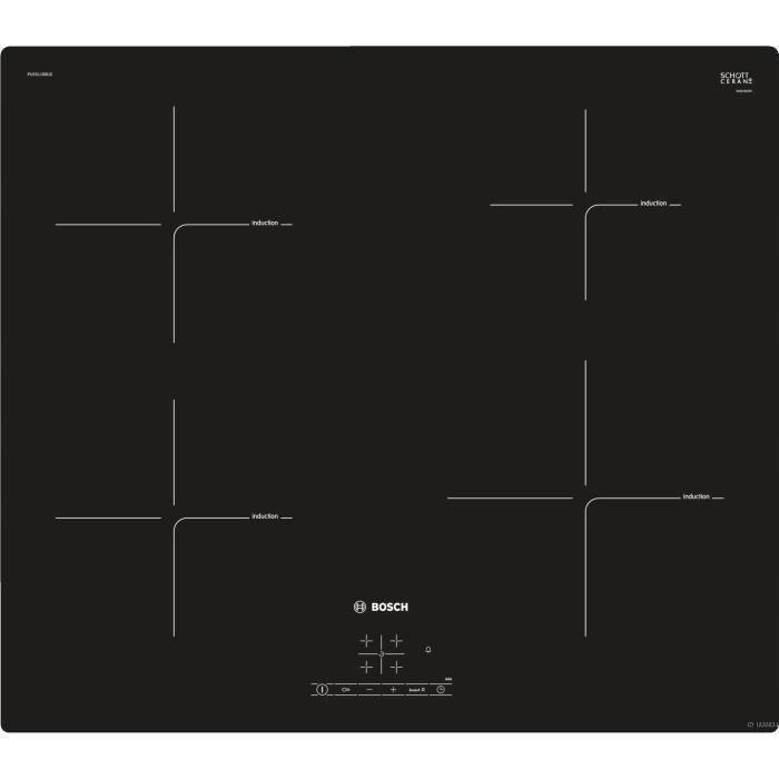 BOSCH PUE611BB1E Plaque de cuisson induction - 4 foyers - 4600 W - L 59,2 x P52,2 cm - Revêtement verre - Coloris noir