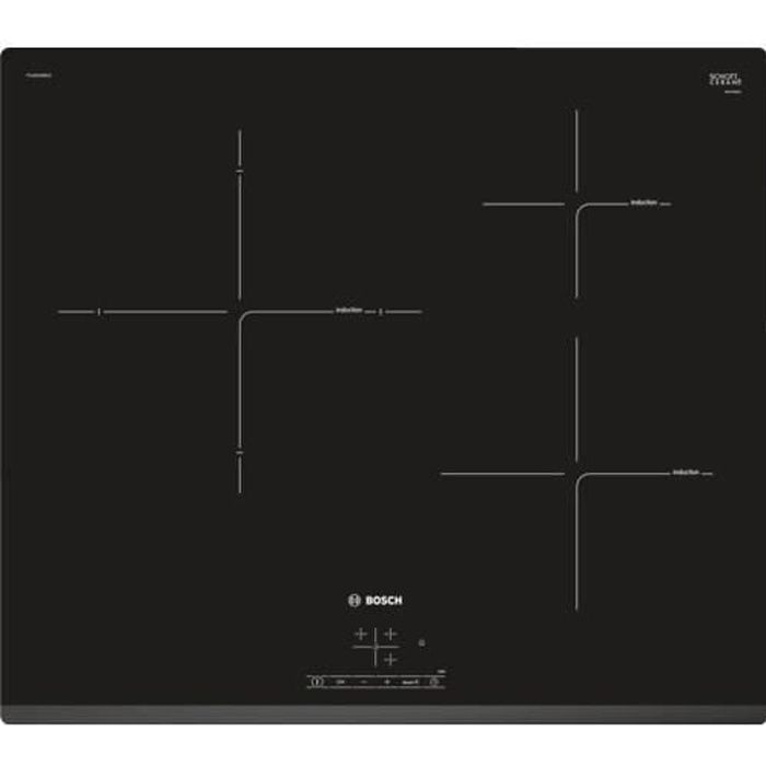 BOSCH PUJ631BB1E Table cuisson induction - 3 zones - 4600W - L 59,2 x P 51 cm - Revêtement verre - N