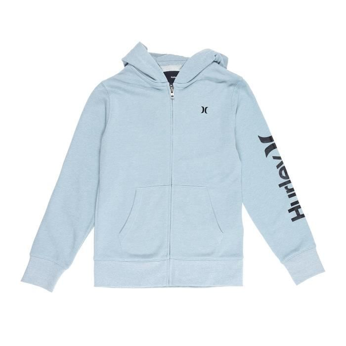 HURLEY Sweatshirt Zippé Hoodie One and Only - Enfant Mixte - Gris bleu