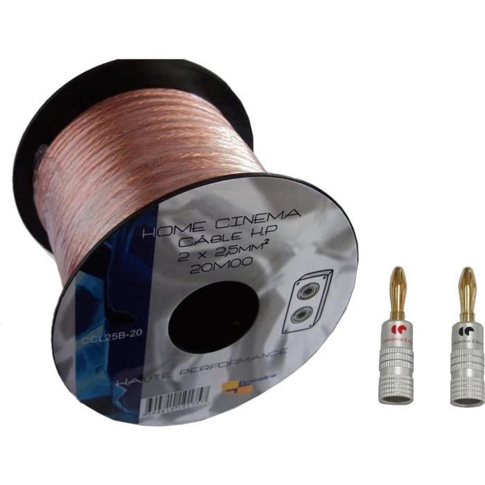 LINEAIRE CCL25B-20 Câble Haut-parleur 2 x 2,5 mm² - Longueur : 20 m + 4x fiche banane métal doré
