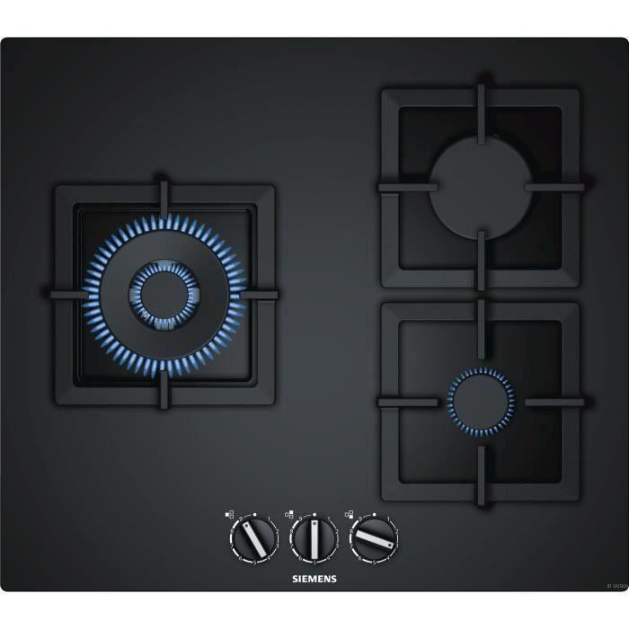 SIEMENS EP6A6CB20 Table de cuisson gaz - 3 foyers - 8000W max - L59 x P52cm - Revêtement verre - Coloris noir