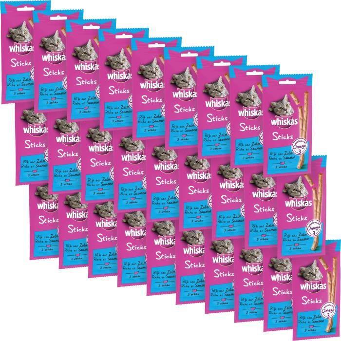 WHISKAS Friandises Sticks - Au saumon - Pour chat - 84 x 6 g