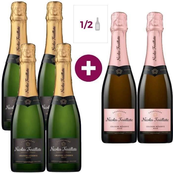 Champagne Nicolas Feuillatte La Grande Réserve Demi-bouteilles - 4 bruts + 2 rosés - 6 x 37,5 cl