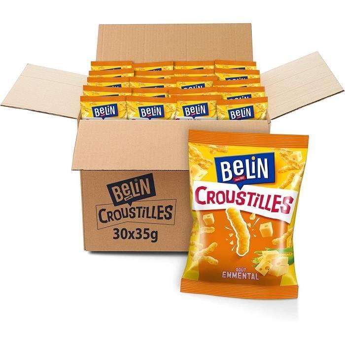 BELIN Croustilles Fromage - Goût Emmental - Format Pocket - Pack de 30 sachets x 35 g