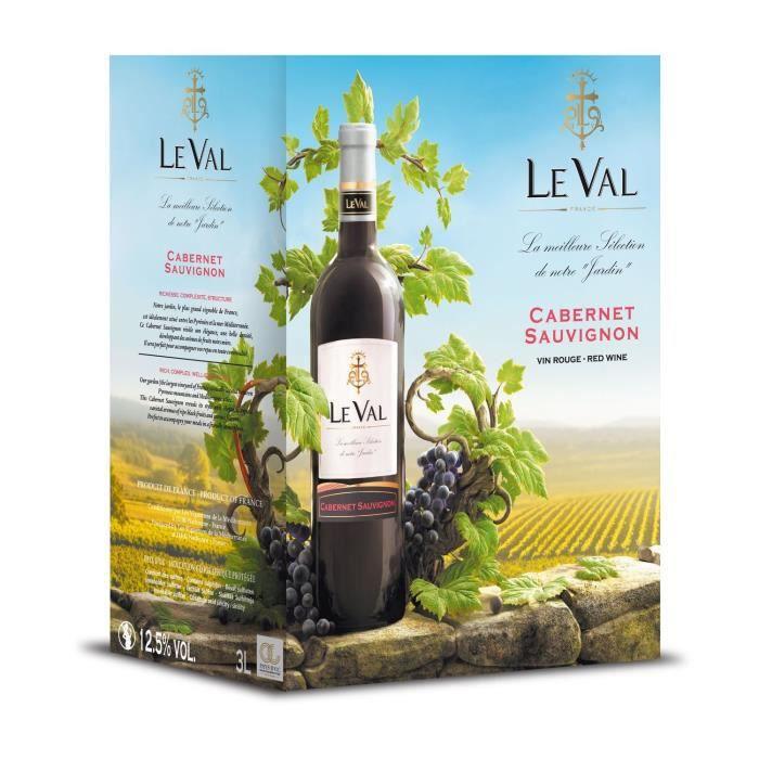 Le Val Cabernet Sauvignon IGP Pays d'Oc - Vin rouge de Languedoc - Bib 3 L