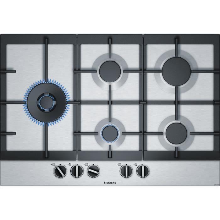 SIEMENS EC7A5SB90 Plaque de cuisson gaz - 5 foyers - 12500W max - L75 x P52cm - Revêtement inox - Inox