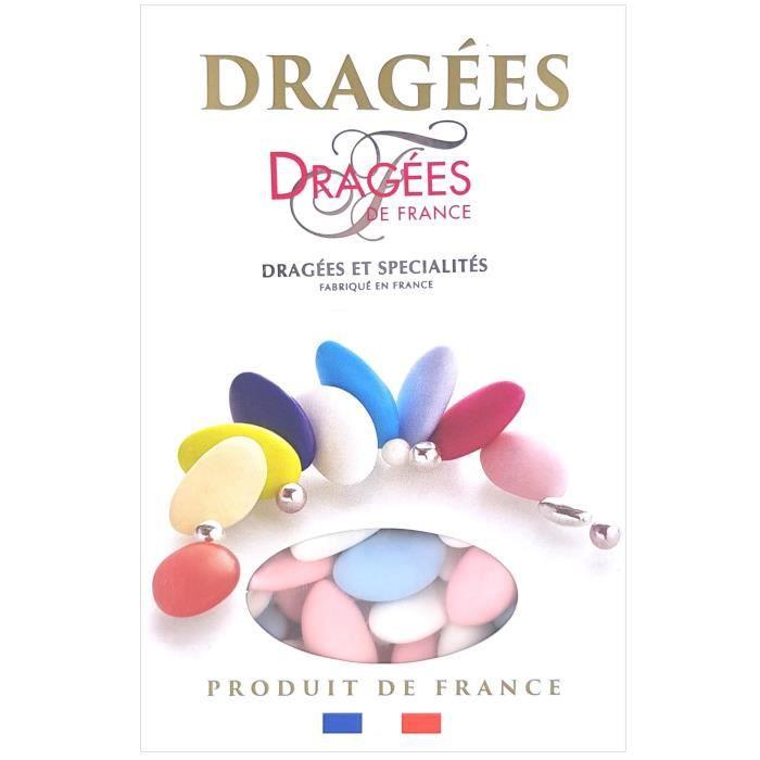DRAGEES DE FRANCE Dragées Avola Trèfles - Blanc, bleu et rose - 28% d'amande - 1 kg