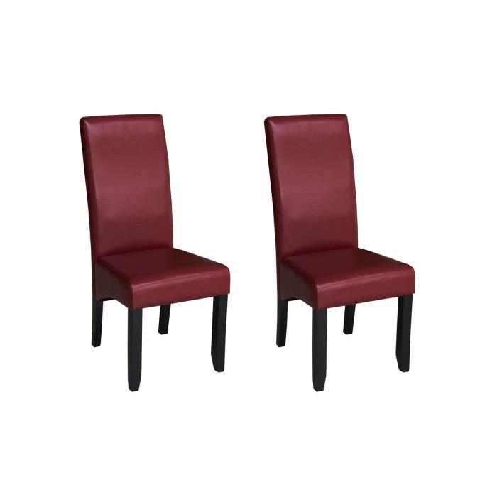 CUBA Lot de 2 chaises de salle à manger - Simili bordeaux - Style contemporain - L 48 x P 64 cm