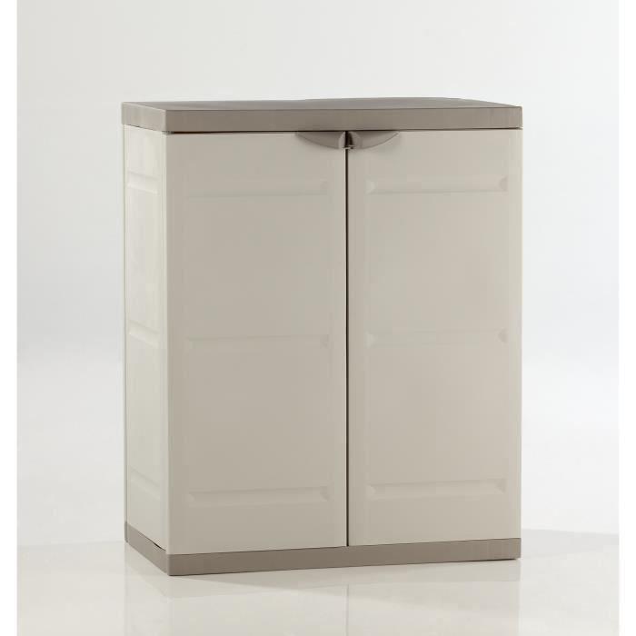 TITANIUM PLASTIKEN Armoire basse 2 portes avec étagères l70 x p44 x h88 cm Beige et Taupe Gamme TITANIUM Intérieur/Extérieur