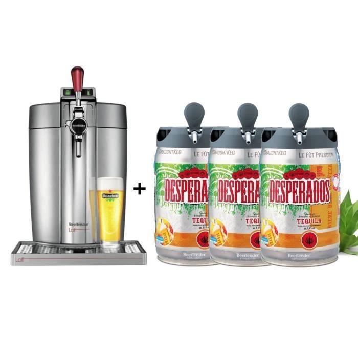 KRUPS Tireuse à bière Beertender - VB700E00 - Compatible fûts 5 L - Chrome + 3 fûts de bière 5L DESPERADOS Tequila