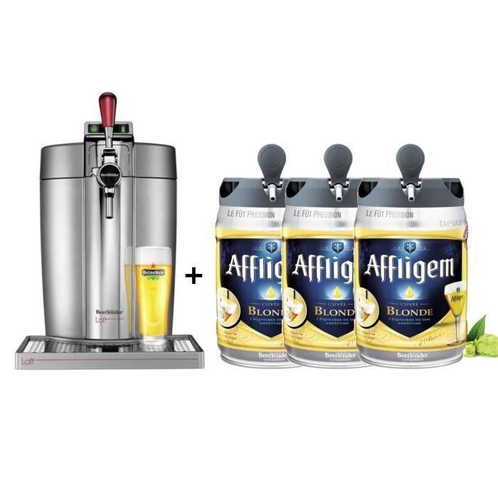 KRUPS Tireuse à bière Beertender - VB700E00 - Compatible fûts 5 L - Chrome + 3 fûts de bière blonde 5L AFFLIGEM