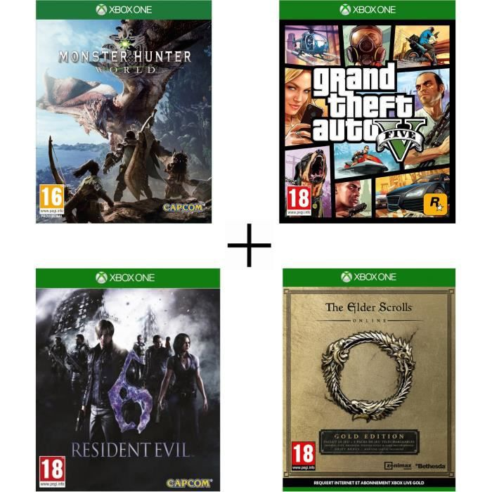 Pack 4 jeux Xbox One : Monster Hunter World + GTA 5 + Resident Evil 6 + The Elder Scrolls Online Edition Gold