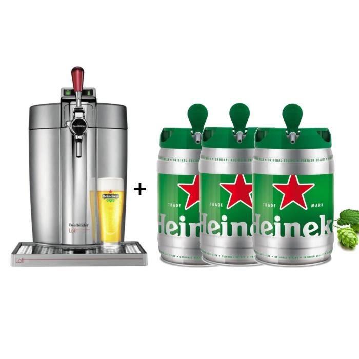KRUPS Tireuse à bière Beertender - VB700E00 - Compatible fûts 5 L - Chrome + 3 fûts de bière 5L HEINEKEN
