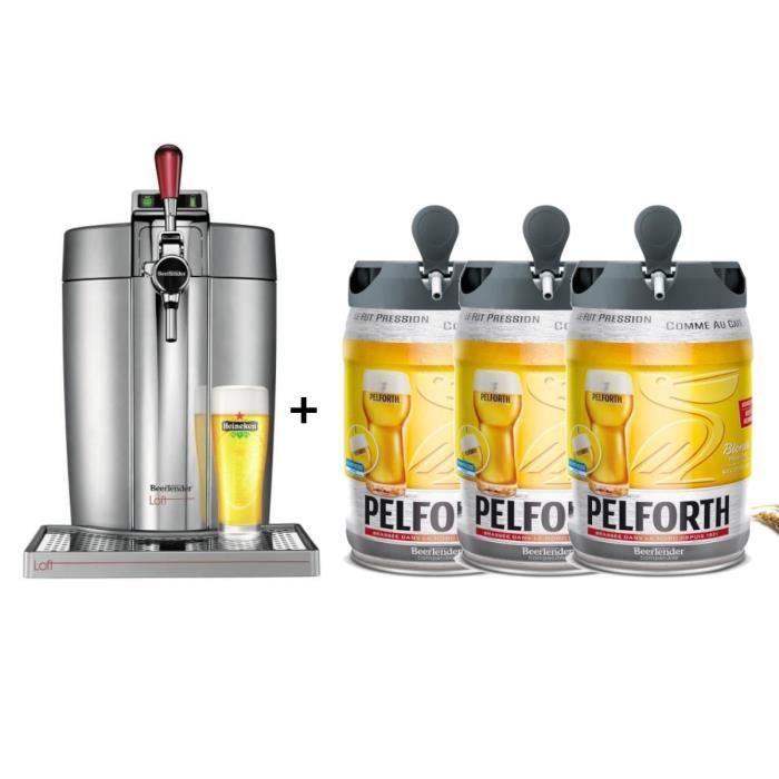 KRUPS Tireuse à bière Beertender - VB700E00 - Compatible fûts 5 L - Chrome + 3 fûts de bière blonde 5L PELFORTH
